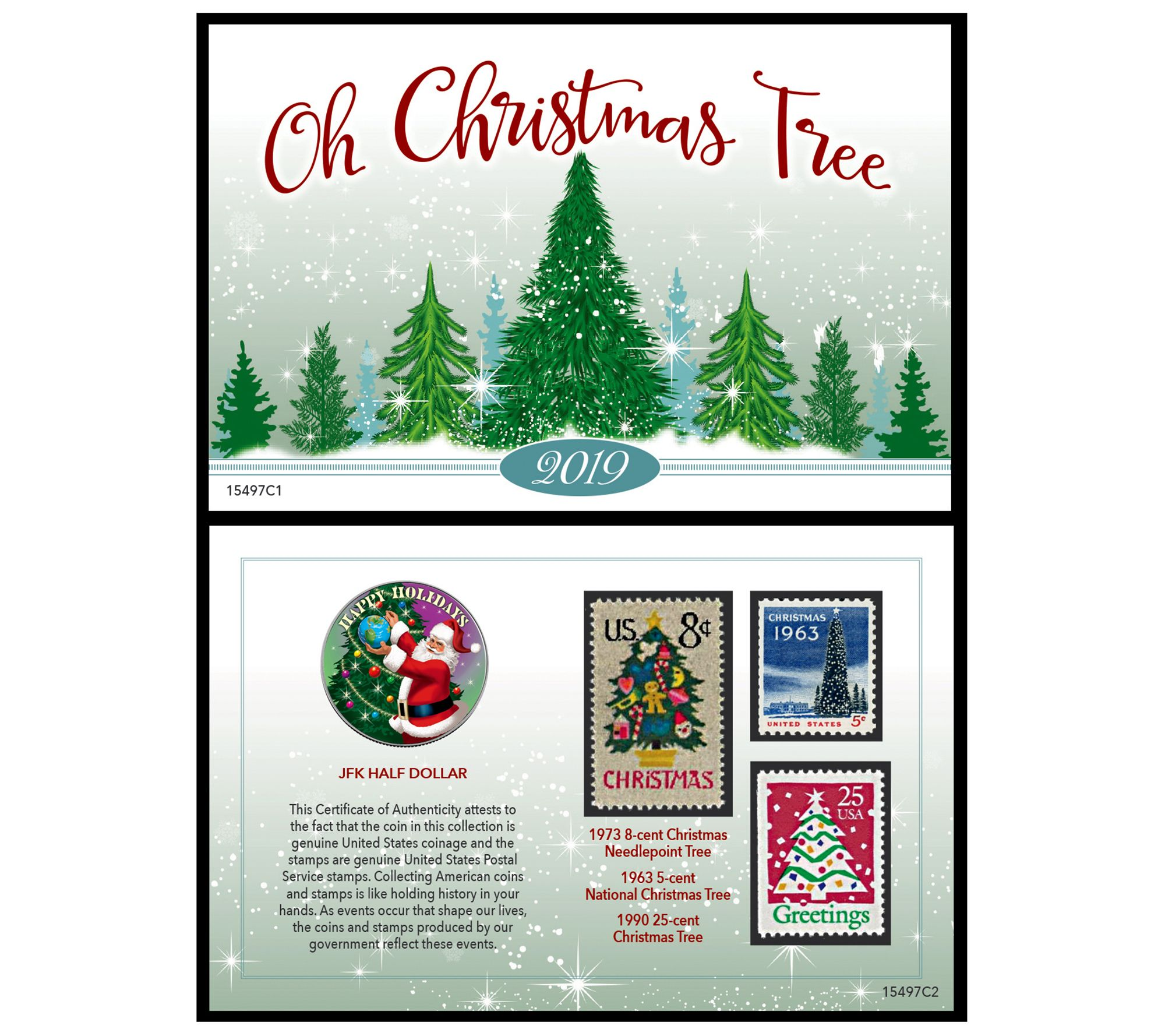 National Christmas Tree 2019.American Coin Treasures 2019 Christmas Coin Andstamp Card Qvc Com