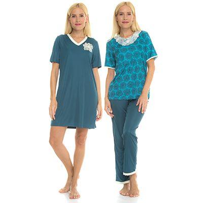 newest 623e9 ac9d4 LITTLE ROSE Mikrofaser Pyjama & Bigshirt Blumendessin Set, 3tlg. — QVC.de