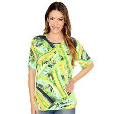 IN PRINT IN-PRINT Shirt, 1/2-Arm Rundhalsausschnitt grafischer Druck Seitenschlitze