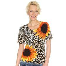 ART COLOUR ART & COLOUR Pullover, 1/2-Arm Rundhalsausschnitt Sonnenblumen- Leodruck