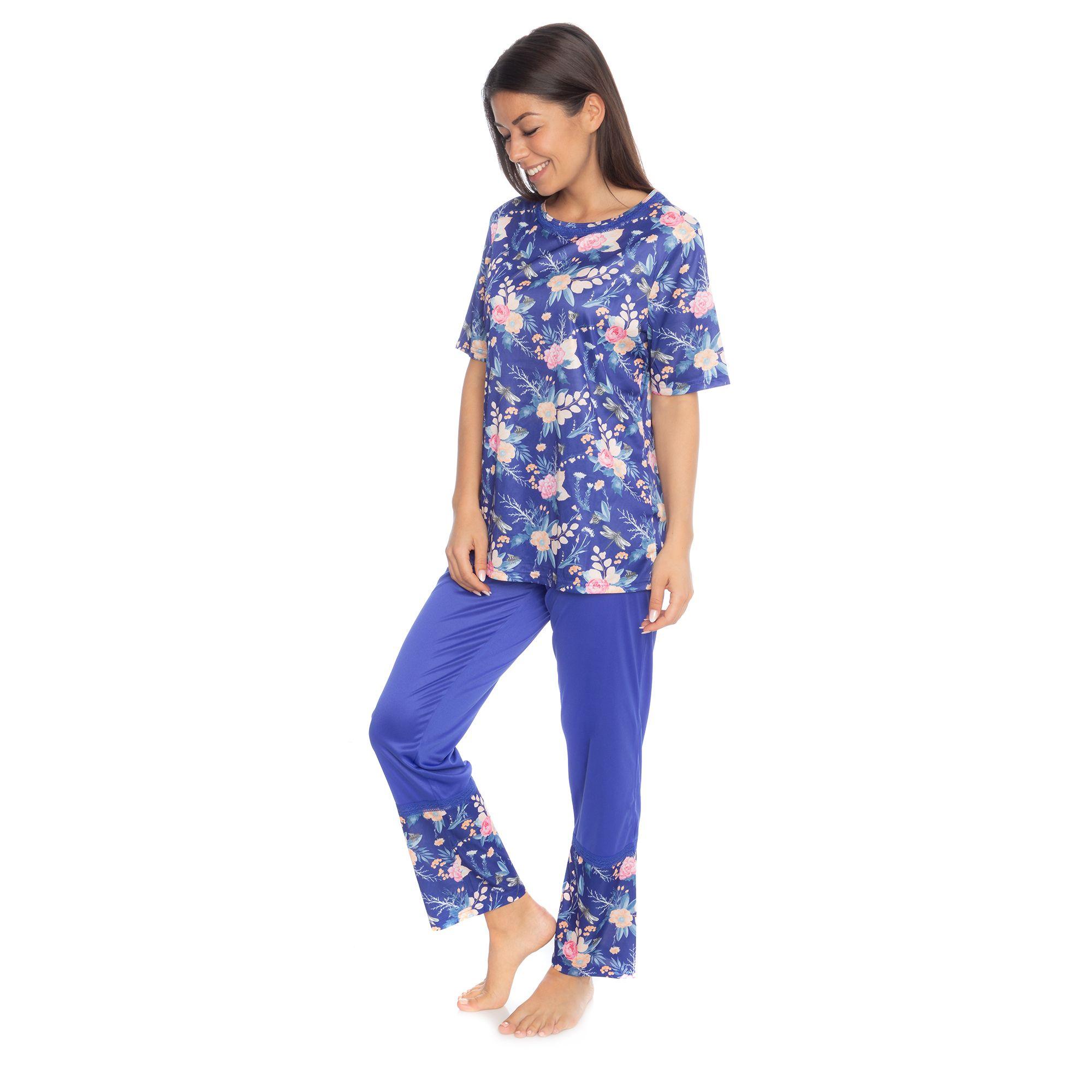 df34320529b3f8 LITTLE ROSE Pyjama Shirt, 1/2-Arm Hose, 1/1-Länge bedruckter Saum — QVC.de