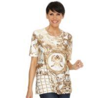 IN PRINT IN-PRINT Shirt, 1/2-Arm Rundhalsausschnitt Ornamentdruck Seitenschlitze