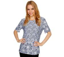 IN PRINT IN-PRINT Shirt, 1/2-Arm Rundhalsausschnitt Blüten-Spitzendruck Seitenschlitze