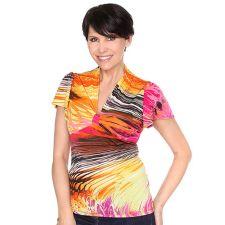 CYDNEY MAR  Shirt, 1/2-Arm Flügelärmel Zierausschnitt Druckvielfalt