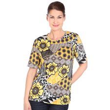 IN PRINT IN-PRINT Shirt, 1/2-Arm Rundhalsausschnitt Grafik-Blütendruck Seitenschlitze