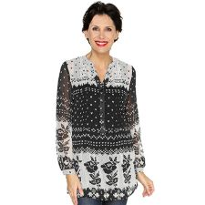 DONNA MODAR  Set, 2-tlg. Tunikabluse, 1/1-Arm Strick-Druck Top, uni