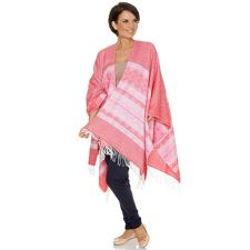 FRIEDA LOVES NYC  Poncho Jaquard grafisches Muster Fransenkante
