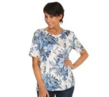 IN PRINT IN-PRINT Shirt, 1/2-Arm Rundhalsausschnitt Rosendruck Seitenschlitze