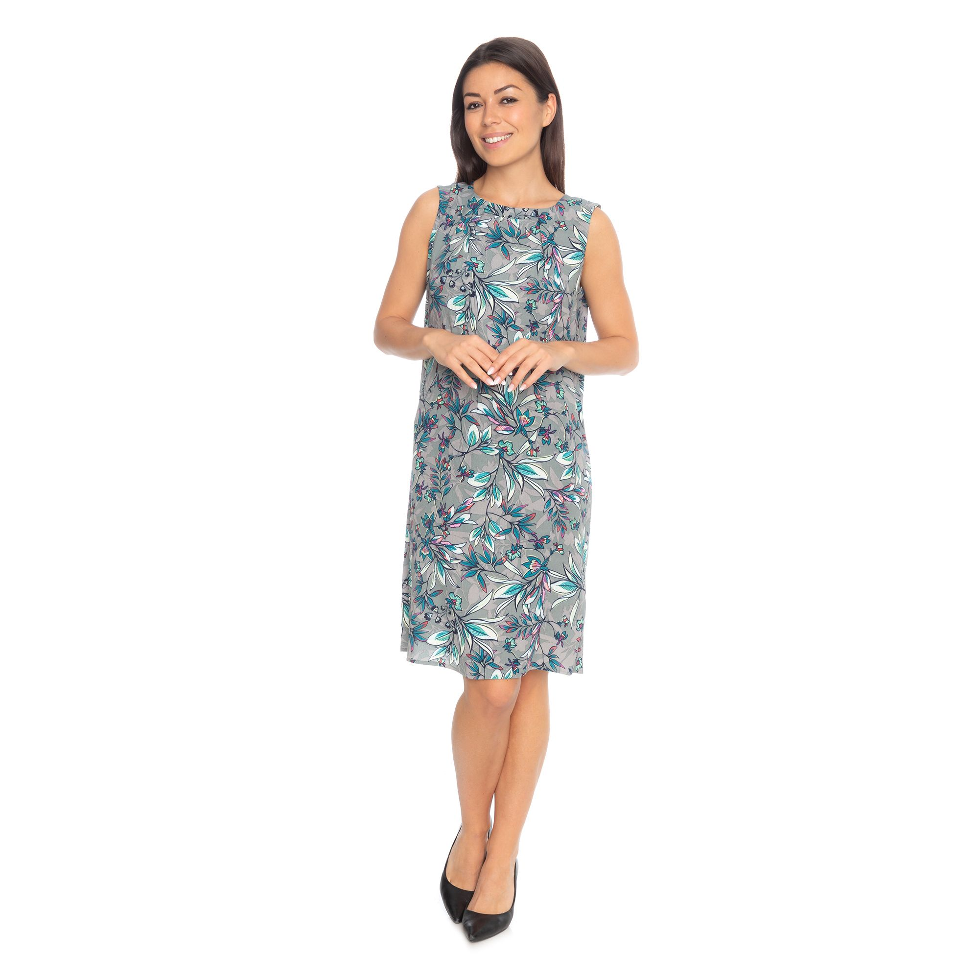 07ceecb86a3f OLSEN Kleid, ohne Arm knieumspielend Rundhalsausschnitt bedruckt — QVC.de