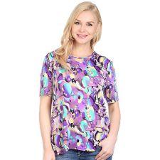 IN PRINT IN-PRINT Shirt, 1/2-Arm Rundhalsausschnitt Halbkreisaussparungen Seitenschlitze