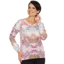 FRIEDA LOVES NYC  Pullover Überschnittener Ärmel allover bedruckt Knopfleiste hinten