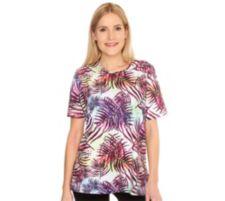 IN PRINT IN-PRINT Shirt, 1/2-Arm Rundhalsausschnitt Palmendruck Seitenschlitze