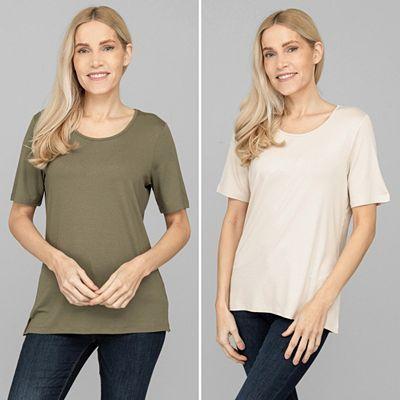 DENIM & CO. Doppelpack Shirts, 1/2-Arm Rundhalsausschnitt Seitenschlitze Preisvergleich