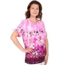 IN PRINT IN-PRINT Shirt, 1/2-Arm Rundhalsausschnitt Schmetterlingsdruck Silberplättchen