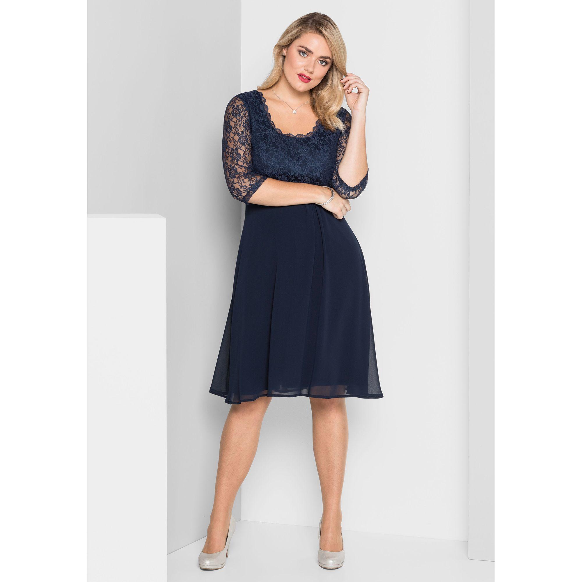 6363c0b609e sheego Kleid 3 4-Arm knieumspielend Spitze — QVC.de