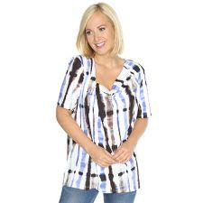 IN PRINT IN-PRINT Shirt, 1/2-Arm asymmetrischer Wasserfall- Ausschnitt