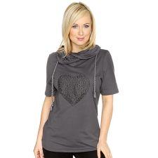 DAILY COMFORT  Jersey-Qualität Shirt, 1/2-Arm gerollter Ausschnitt Herz-Spitzendetails