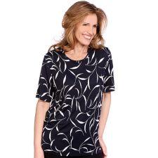 IN PRINT IN-PRINT Shirt, 1/2-Arm Rundhalsausschnitt grafischer Druck mit Blätter-Optik
