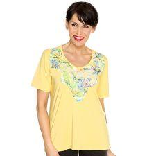 IN PRINT IN-PRINT Shirt, 1/2-Arm aufgelegte & bedruckte Spitze Seitenschlitze