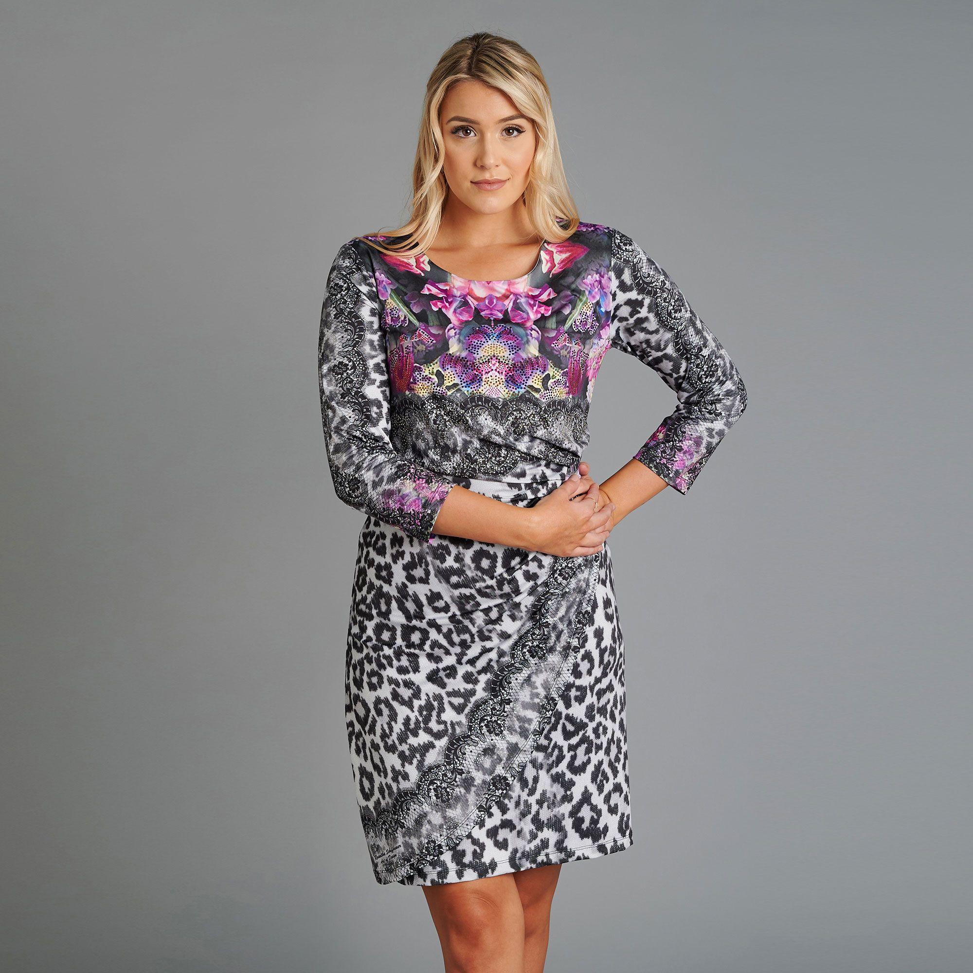 SCHIFFHAUER MUNICH® Kleid, 11/11-Arm Wild Elegance Wickel-Optik  Strasssteinbesatz - QVC.de