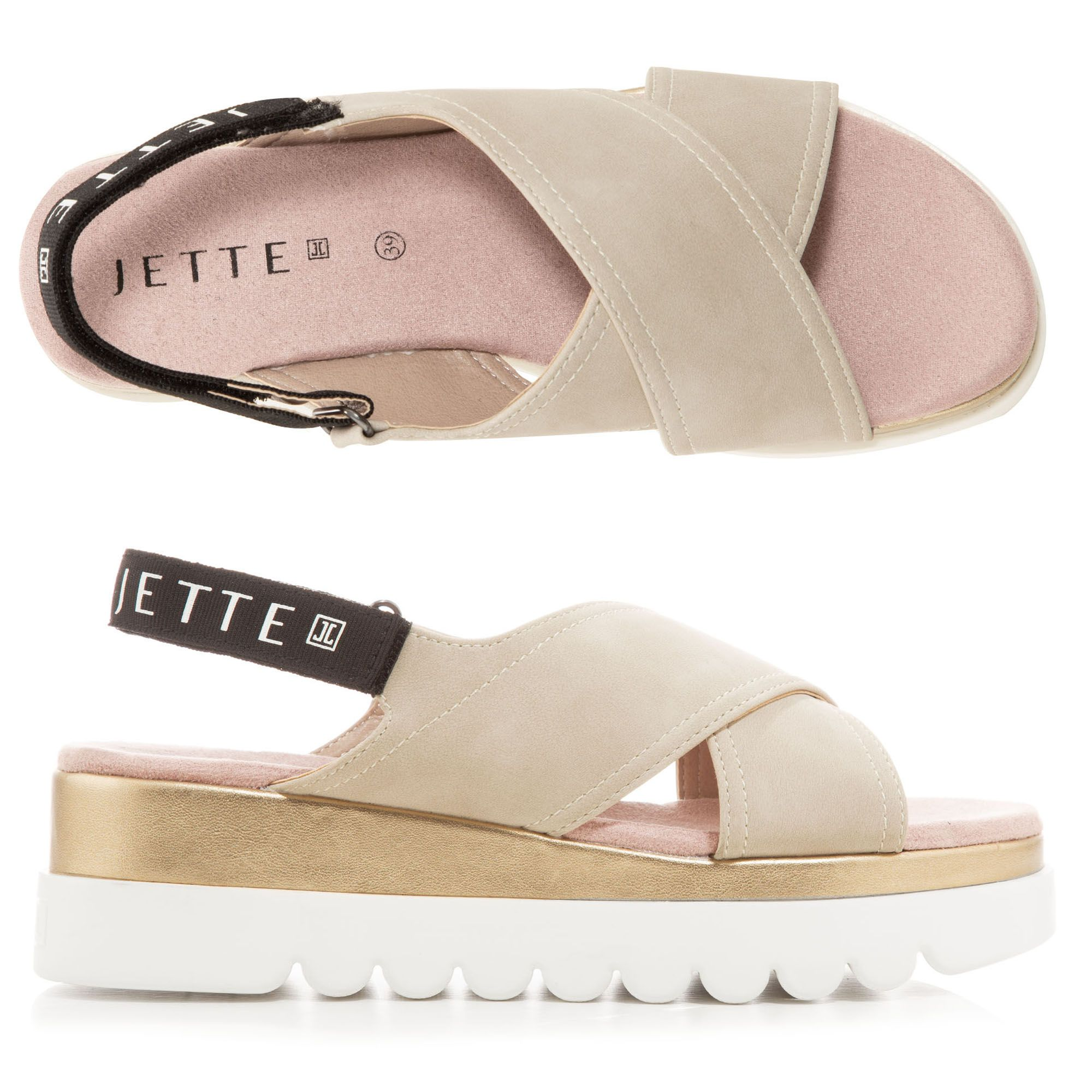 Jette Damen — Lederimitat Klettverschluss Sohle Sandale Weiße hrdxtsQC