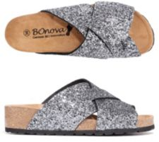 BONOVA  Damenpantolette Glitter-Optik Weichfußbett Keilabsatz