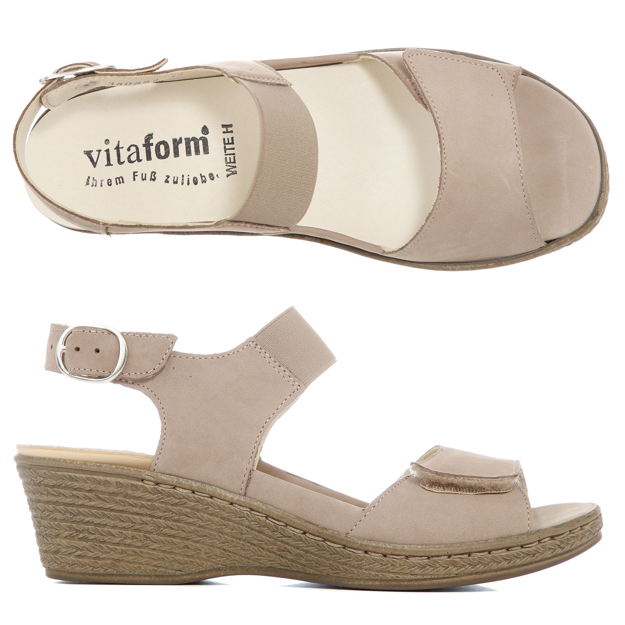 Keilabsatz Bast — Nubukleder Vitaform Sandalette Optik Austauschfußbett ZiOXTPku