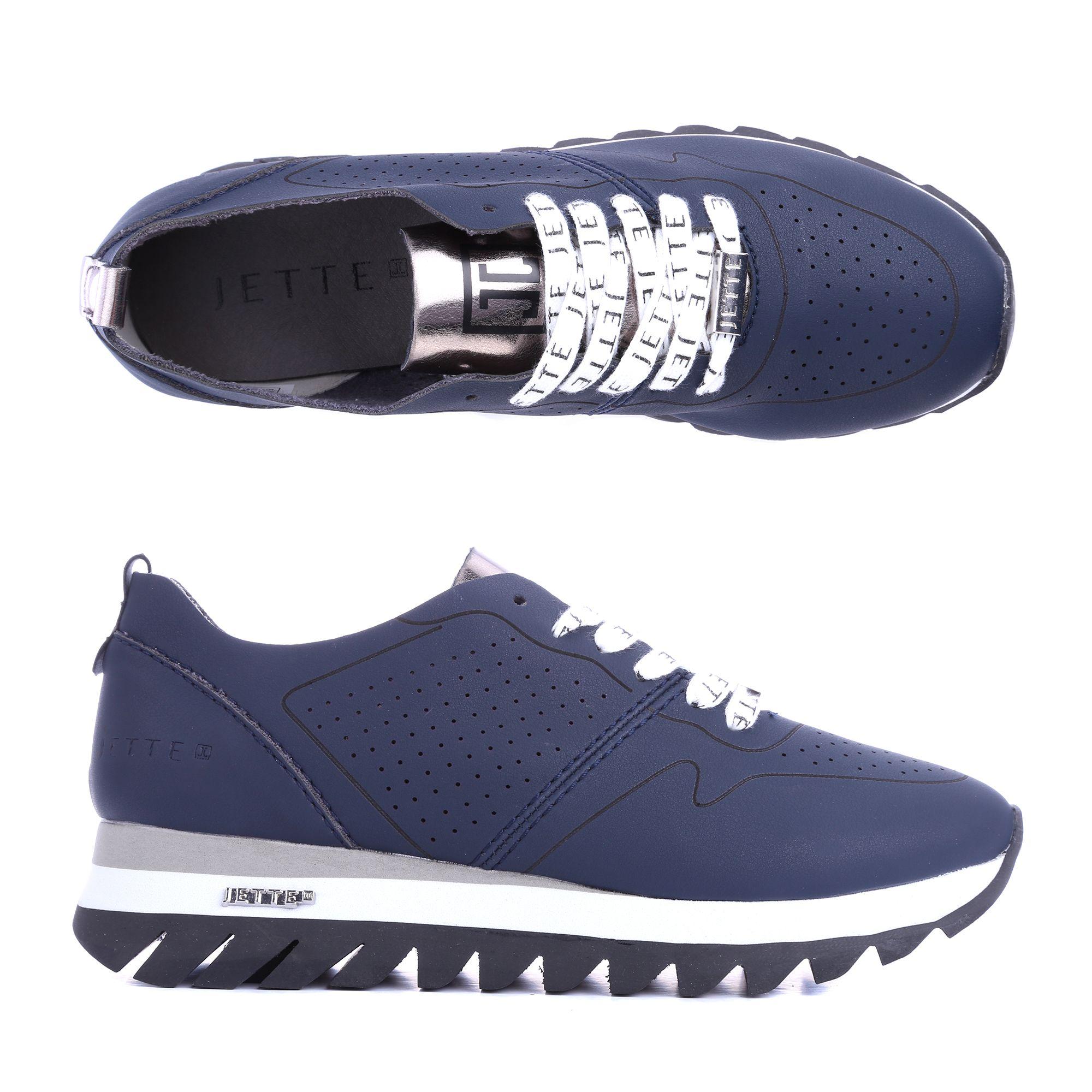 sale retailer 4b13a c2028 JETTE Damen-Sneaker Lederimitat Logosenkel Haifischsohle — QVC.de
