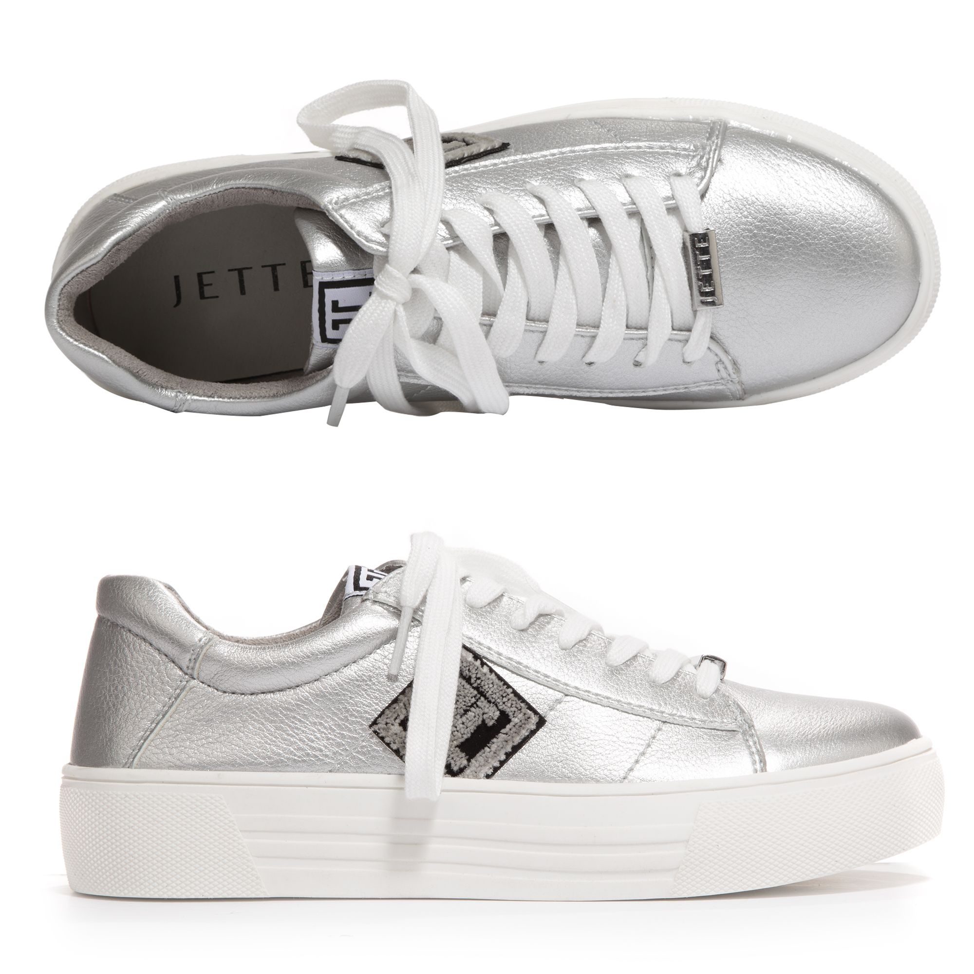 promo code e0a39 66335 JETTE Damen-Sneaker Lederimitat Applikation an Seite Plateausohle — QVC.de