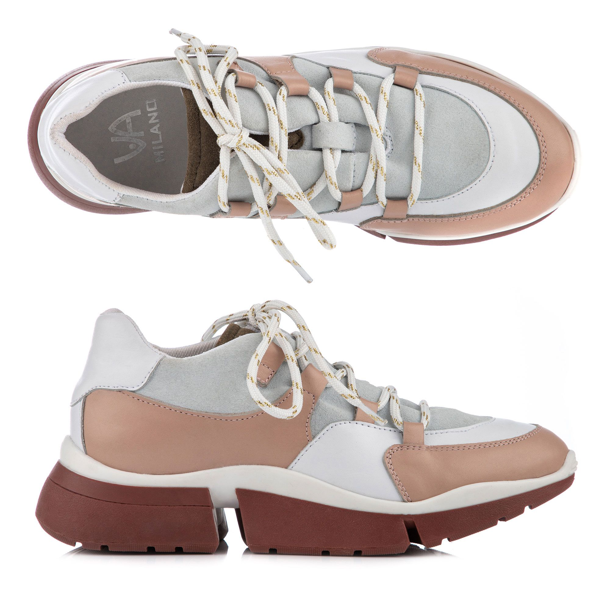 VIA MILANO Damen Sneaker Leder Schnürung 2 farbige Sohle —