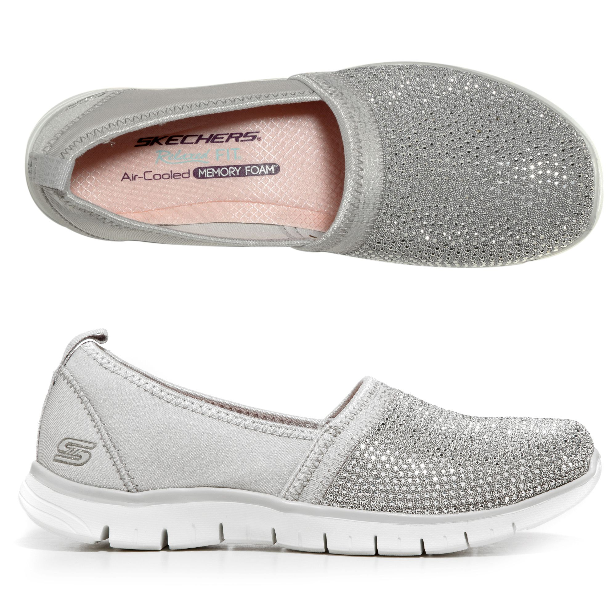 SKECHERS Damen Slipper Ez Flex Renew Strasssteine Memory Foam —