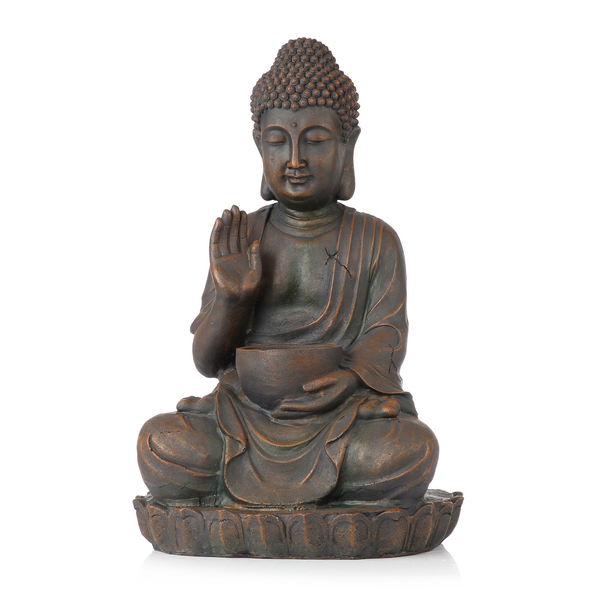 Gartendeko Buddha Brunnen Beleuchtet Polyresin Ca 51x33x25cm