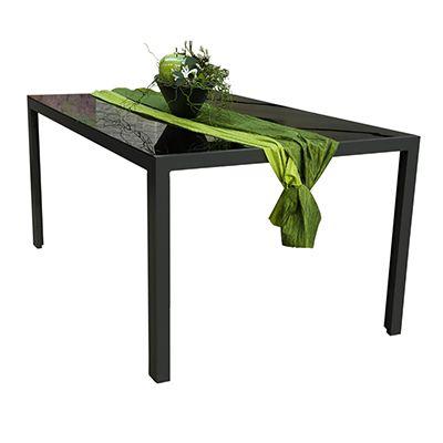 Green Lounge Gartentisch Glasplatte Schwarz Aluminium B 100 H 73 L
