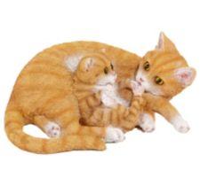 MÄRCHENWALD  Katzenmutter & Katzenbaby handbemalt detailgetreu