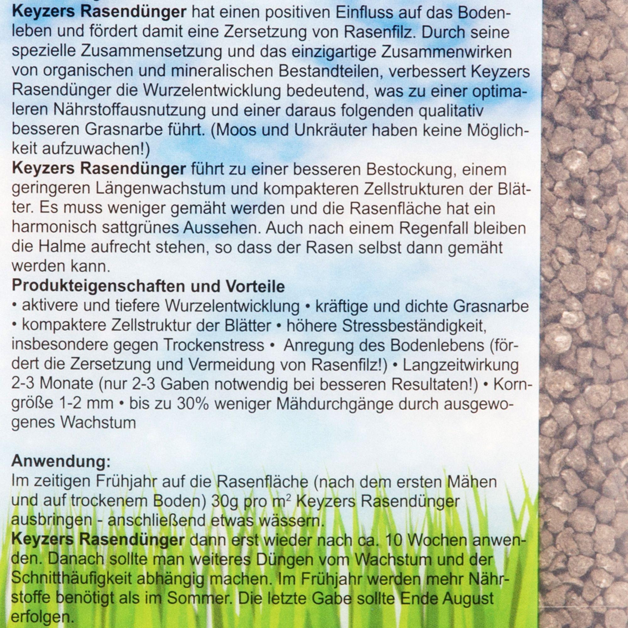 Etwas Neues genug KEYZERS® Spezial-Rasendünger bis zu 120qm Frühjahr/Sommer 3,6kg &OM_99