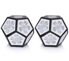 SOLITHIA  Solar-Tischleuchte Diamant-Form inkl. Motiv 2er-Set