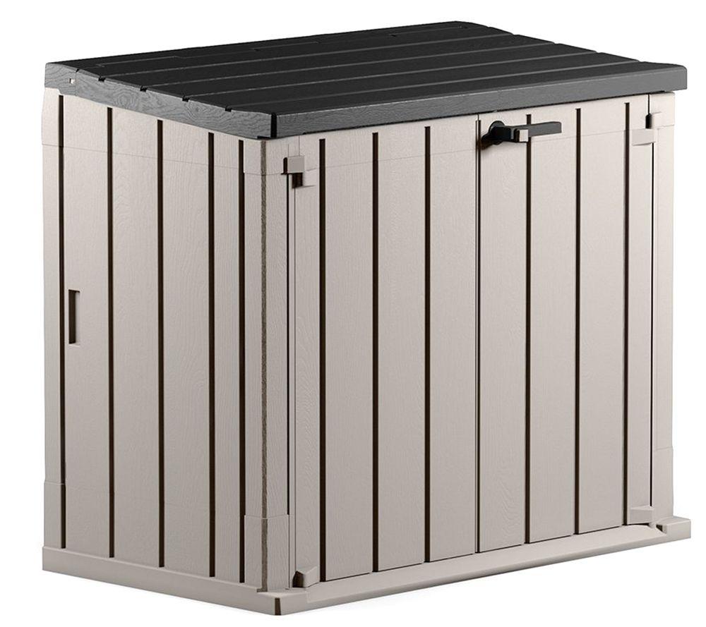 toomax aufbewahrungs- & mülltonnenbox holz-optik fassungsvermögen