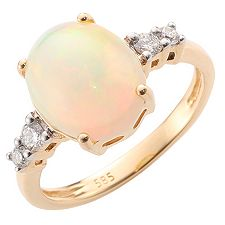 Afrikanischer Opal 3,00ct Ring 4 Brillanten 0,20ct Gold 585