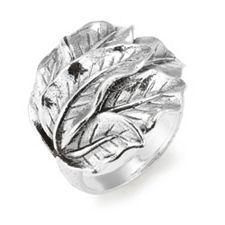 OR PAZ Ring Blätter geschwärzt Silber 925