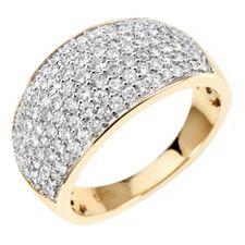 123 Brillanten Ring zus. ca. 1,00ct Weiß/P1 Gold 585