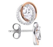 DIAMONIQUE ® Ohrstecker = 1,41ct Schliffmix Silber bicolor
