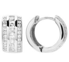 DIAMONIQUE ® Creolen = 1,08ct Schliffmix Silber rhodiniert