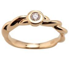 1 Brillanten Solitär-Ring ca. 0,12ct Weiß/P1 Gold 585