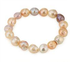 HONORA  Armband, flexibel Süßwasserzucht- perlen, 10-12mm Tragelänge ca.19cm