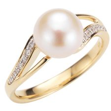 AKOYA  Zuchtperlen Ring 14 Brillanten 0,09ct Gold 585