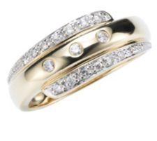 17 Brillanten Ring zus. ca. 0,16ct Weiß/P1 Gold 333