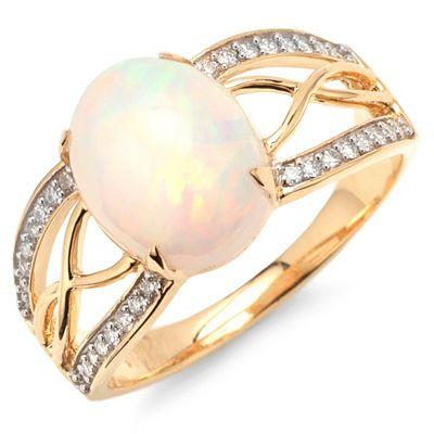 Afrikanischer Opal 2,00ct Ring Brillanten 0,19ct Gold 585 Preisvergleich