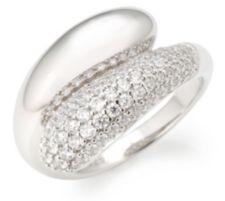 DIAMONIQUE ® Croiséring = 0,82ct Brillantschliff Silber rhodiniert