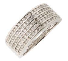 100 Brillanten Ring zus. ca. 1,00ct Weiß/SI Platin 950