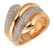 DIAMONIQUE ® Cocktailring = 0,81ct Brillantschliff Silber rosévergoldet